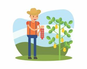 cute farmer farming harvest farms planting agriculture agriculturist tiller pear cartoon character