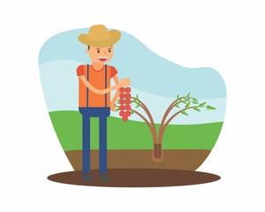 cute farmer farming harvest farms planting agriculture agriculturist tiller salak snake fruit cartoon character