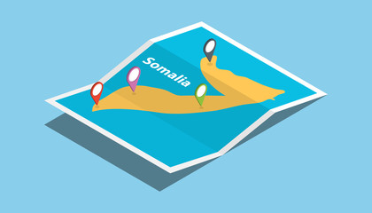 somalia africa explore maps with isometric style and pin location tag on top