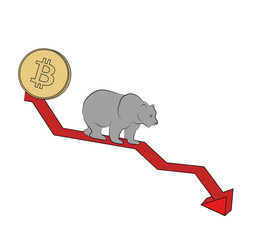 bear on the graph. bearish trend. crypto-instruments. vector illustration.