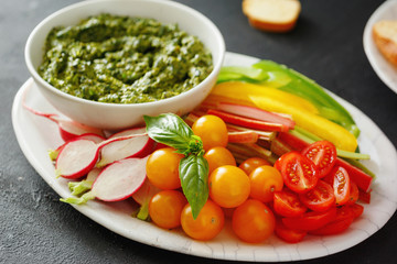 Raw vegetables snack pesto sauce Vegetarian healthy food