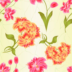 Seamless texture bunch orange and pink  Lily Alstroemeria stem flower and leaves  closeup isolated vintage vector illustration for design editable  hand draw