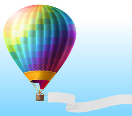 Vector realistic hot air balloon with rainbow stripes, flying on blue sky with blank ribbon for message. Colorful aerostat with basket for romantic travels. Template for poster, advertising banner