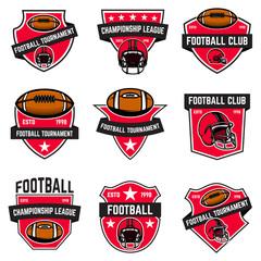 Set of american football emblems. Design element for logo, label, sign, poster, menu.