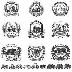 Set of emblem with tractors. Design element for logo, label, sign.