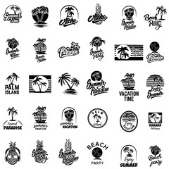 Set of summer emblems with palms. For emblem, sign, logo, label, badge.