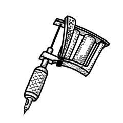 tattoo machine illustration in engraving style. Design element for logo, label, emblem, sign, badge.