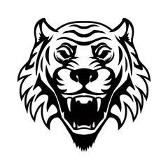 Tiger head illustration. Design element for logo, label, emblem, sign, badge.