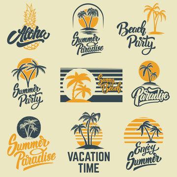 Set of summer emblems with palms. For emblem, sign, logo, label, badge.