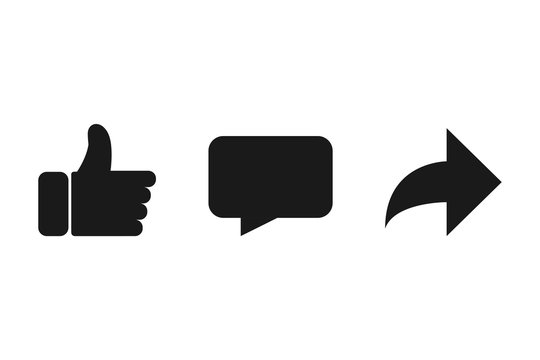 Vector like comment share icon set