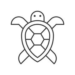 Sea turtle icon, set of ocean life, line design vector