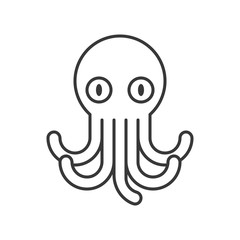 octopus icon, set of ocean life, line design vector