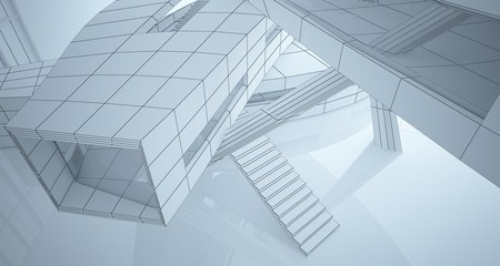 Foto auf Leinwand An der Decke Abstract drawing white parametric interior. Polygon black drawing. 3D illustration and rendering.