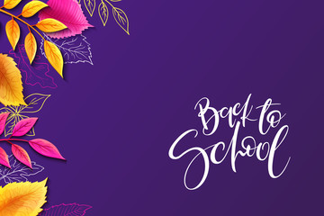 Vector illustration with design template for Back to school event banner with detailed bright autumn leaves and Back to School hand lettering label
