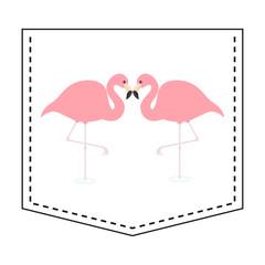 Flamingo love couple pocket print. T-shirt design. Cartoon animals. Cute baby character. Dash line. Bird animal. White background. Isolated. Flat design