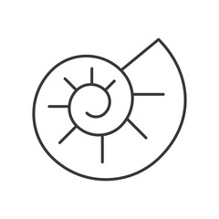 Ammonite icon, set of ocean life, line design vector