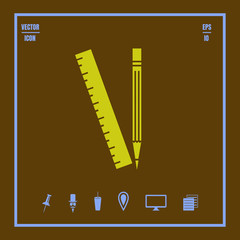 Pencil and ruler vector icon.