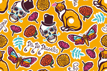 Mexican Day of the Dead. Dia De Los Muertos. Seamless pattern with a human skull in a hat, a cat, a moth Hyles, flowers, marigolds, lettering. Vector illustration.