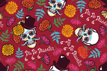 Mexican Day of the Dead. Dia De Los Muertos. Seamless pattern with a human skull in a hat, flowers marigolds, lettering. Vector illustration.