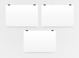 Three Horizontal Poster Mockup A4. Mock-up.