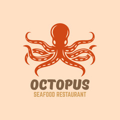 Octopus seafood restaurant menu vector logo