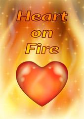 Valentine Holiday Illustration with Big Red Heart, Love Symbol on Fire Background. Eps10, Contains Transparencies. Vector