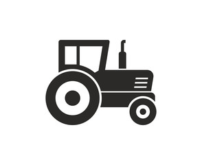 Tractor icon, Monochrome style. isolated on white background
