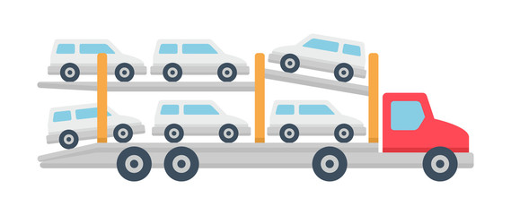 Car carrier truck icon, Flat style. isolated on white background