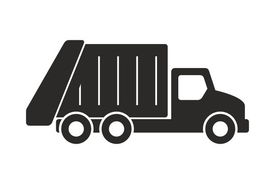 Garbage truck icon, Monochrome style. isolated on white background
