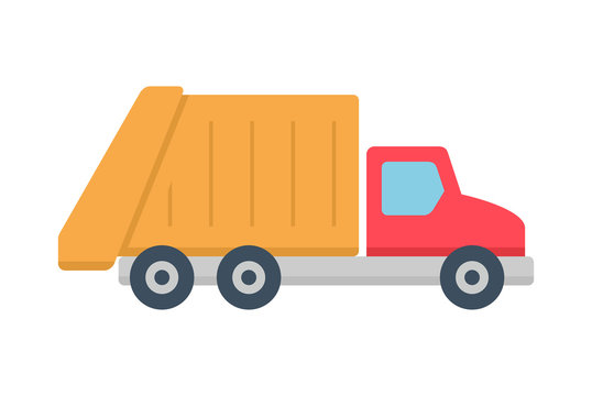 Garbage truck icon, Flat style. isolated on white background