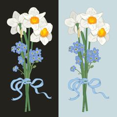 Narcisus and myosotis. Hand drawn bouquet on dark background. Vector illustration