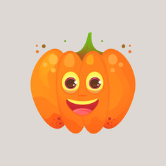 Character cartoon pumpkin. Emotional icon. Sincerely happy, smiling. Halloween. Stickers for messenger and other communications. Vector illustration in a cartoon style..