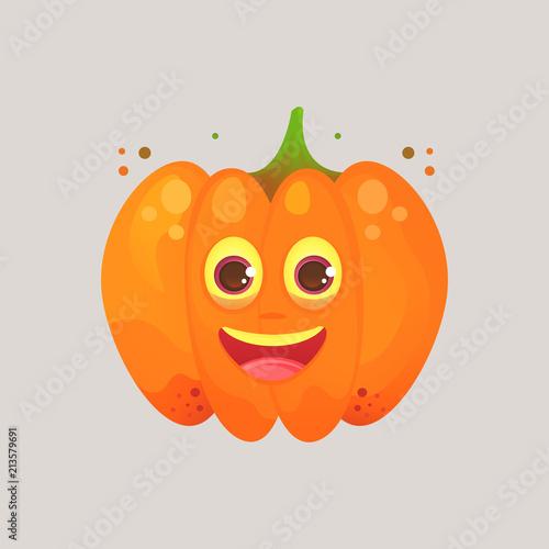 Character cartoon pumpkin  Emotional icon  Sincerely happy