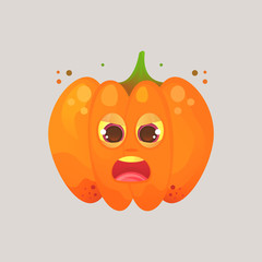 Character cartoon pumpkin. Emotional icon. His eyes squinted, screaming, in a frenzy, not in himself. Halloween. Stickers for messenger and other communications.