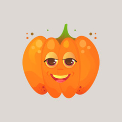 Character cartoon pumpkin. Emotional icon. Angry, smirk, squinted eyes. Halloween. Stickers for messenger and other communications. Vector illustration in a cartoon style..