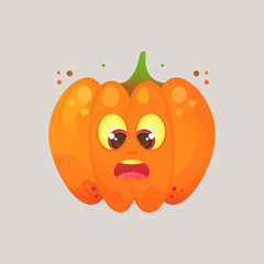 Character cartoon pumpkin. Ludicrous, funny, awkward looks at his nose, slanting eyes. Emotional icon. Halloween. Stickers for messenger and other communications.