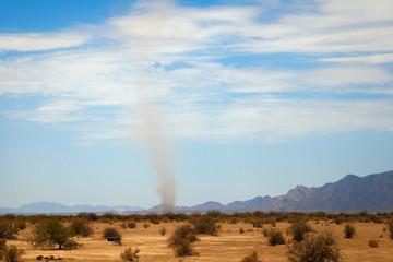 Dust Devil and Heat Waves in Arizona Desert