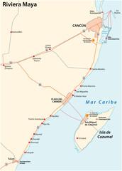 riviera maya road vector map, quintana roo, mexico