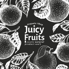 Orange fruit design template. Hand drawn vector fruit illustration on chalk board. Engraved style frame. Vintage citrus background.
