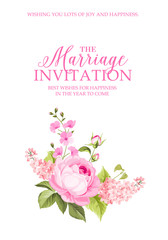 The Marriage invitation with flowers over white paper. Vector illustration.