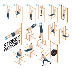 Street workout exercises. Vector illustrations.