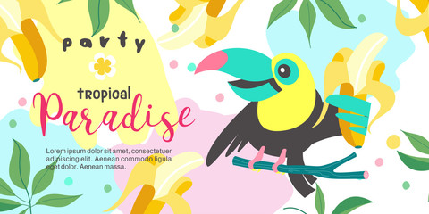 Hello summer. Party tropical Paradise. Vector illustration, invitation to a party with a cute Toucan bird.
