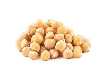 Pile of cooked chick peas isolated