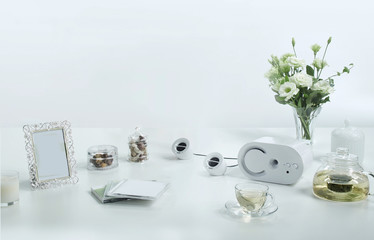 Music and relaxing equipment set on white background with copy space.