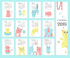 Calendar 2019 vector template with cute cats