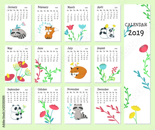Calendar 2019 Vector Template With Cute Animals Stock Image And