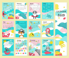 Calendar 2019 vector template with pirate animals