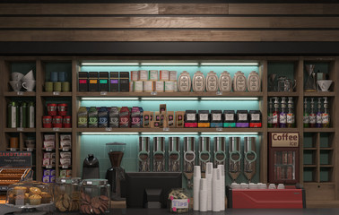 3d Rendering of a interior coffee shop