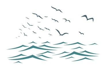 Sea with birds.