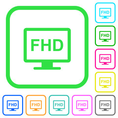 Full HD display vivid colored flat icons